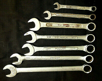 "Lot of 7 Used Mixed Sizes & Makers Combination Wrenches--5/16"" to 5/8"""