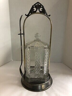 Vintage Victorian Square Glass Pickle Castor W/ Fork