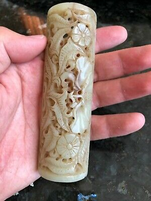 Antique Chinese Hand Carved Flower Jade Piece
