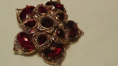 Beautiful Red Monet Brooch/Pin in Goldtone Filigree Metal