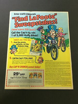 VTG 1982 Cap'n Crunch Cereal Find La Foote Sweepstakes Print Ad Coupon