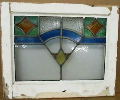 "OLD ENGLISH LEADED STAINED GLASS WINDOW Abstract Geometric Design 19"" x 15.75"""