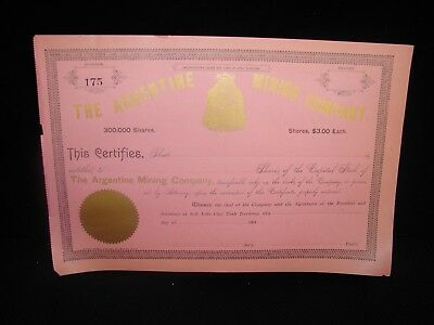 Late 1800'S - The Argentine Mining Company Stock Certificate - Utah - Antique
