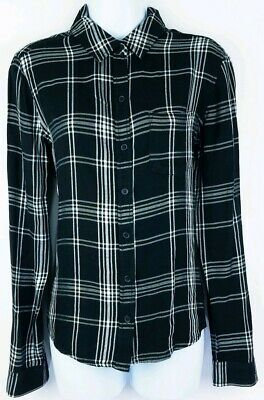 SO American Heritage Womens Black White Long Sleeve Button Shirt Size Medium