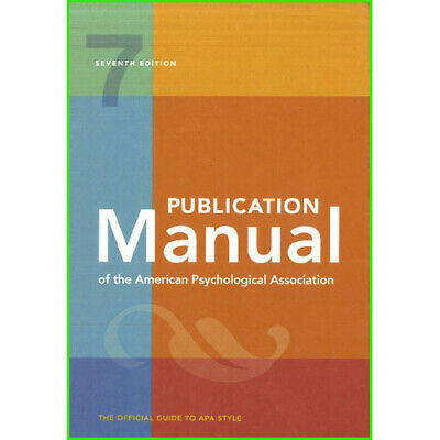 Publication Manual of the American Psychological Association 7th Ed || P.D.F