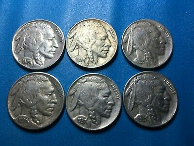 Buffalo Nickel Indian Head Nickel Collection 6 Coin Lot FREE SHIPPING!