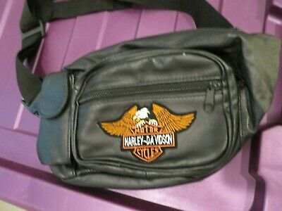 Harley Davidson Black Leather Fanny Pack Motorcycle Pouch