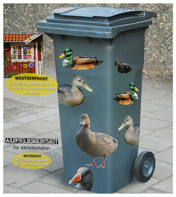 """Sticker For Dustbin - """" Ducks """" - With 84 Piece - Abc Letters And Numbers"""