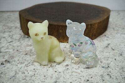 Lot of 2 Fenton Hand Painted Cat Art Glass Pearl Opalescent & Floral