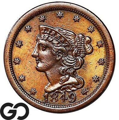 1849 Half Cent, Braided Hair, Beautiful Lustrous Choice BU++