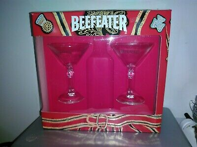 """Long Decorative Stem Beefeater London Martini Cocktail Glasses 6"""" Tall  """"NEW"""""""
