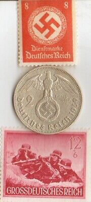 """#-28)-*us  WW2-SILVER +*german Coins and -rare STAMP of """"SS""""- Machinegunners"""