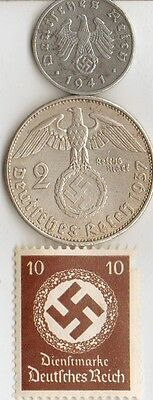 -*us Stamp  from  WW2 - with  SILVER , STEEL, ZINK  *us  and  *german  coins ...