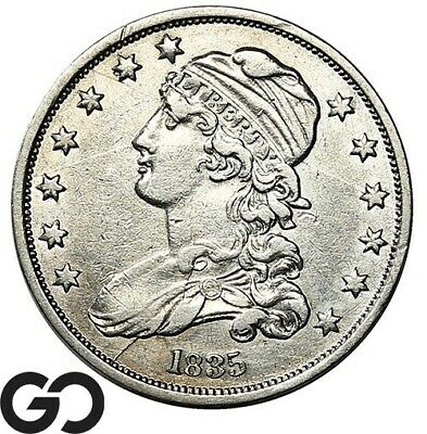 1835 Capped Bust Quarter, Nice Choice XF++ Early Collector Silver 25c
