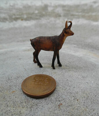 ANTIQUE BLACK FOREST CHAMOIS GOAT CARVED WOOD MINIATURE, GERMANY c.1900's