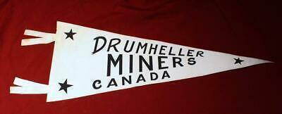 Vintage 1960's Drumheller Miners 1966 Allan Cup Hockey Champions Pennant ASHL!