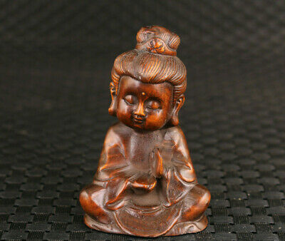 Chinese old boxwood hand carved buddha figure statue Good stand hand piece