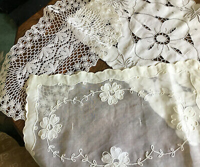 3 Beautiful Vintage Tray Cloth  Embroidered Crocheted