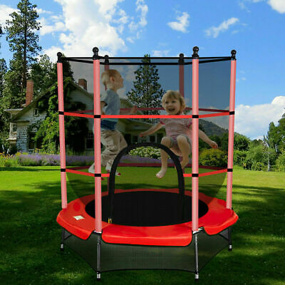 """4.5FT 55"""" Junior Trampoline With Safety Net Enclosure Kids Child Outdoor Toy Red"""