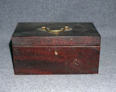 Small Wooden Mahogany Trinket Box with brass handle