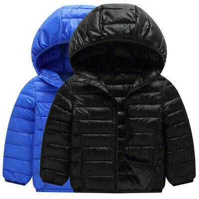 Kids Girls Boy Winter Warm Snowsuit Cotton Down Jacket Hooded Short Coat Outwear