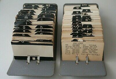 Vintage PAIR Rolodex V-File Jr. Zephyr American Metal Card Organizer