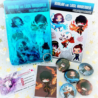 The Avengers Anime Gift Set Buttons Keychain Stickers Bundle