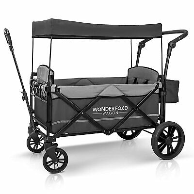 WONDERFOLD Stroller Wagon with Removable Canopy and 5-Point Harness (Open Box)