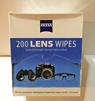 Zeiss Pre-Moistened Lens Cloths Wipes 200 Ct, Glasses Camera Phone Cleaning