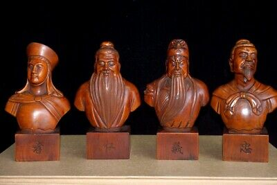 Collectable China Old Boxwood Hand-Carved Ancient People A Set Of Unique Statue