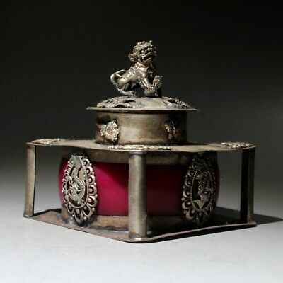 Qianlong Years Collect China Miao Silver Carve Dragon & Phoenix Incense Burner