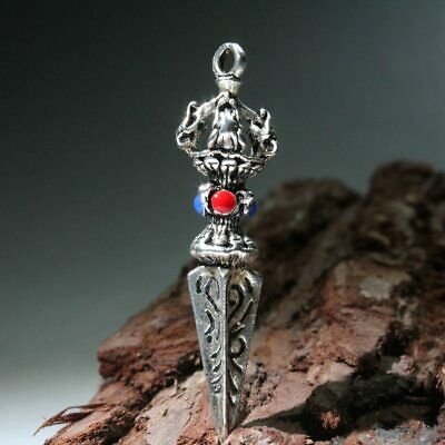 Collection China Miao Silver Handwork Carve Decoration Exorcism Delicate Pendant