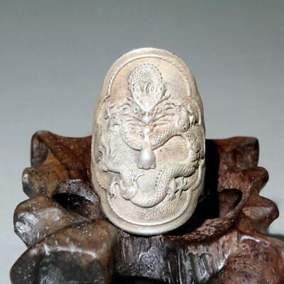 Collectable China Old Miao Silver Hand-Carved Dragon Auspicious Chic Finger Ring