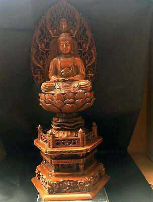 Collectable China Boxwood Handwork Carve Delicate Auspicious Noble Buddha Statue