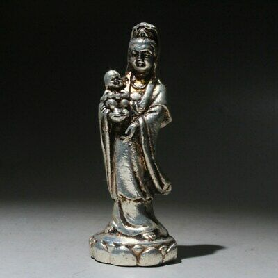 Collectable Chinese Old Miao Silver Hand-Carved Kwan-yin Children Unique Statue