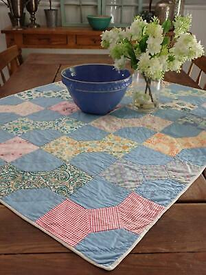 Darling Vintage Cottage Blue Bowtie Table or Crib Quilt 39x33