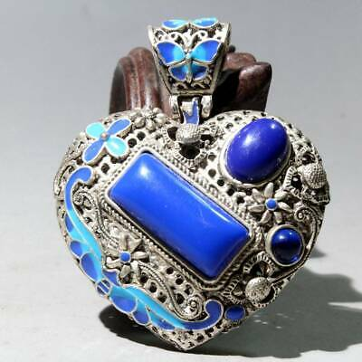 Collectable Old Miao Silver Cloisonne Hand-Carved Butterfly Flower Noble Pendant