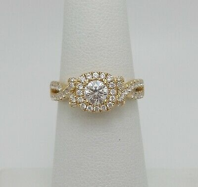 1CT Diamond Halo Solitaire Engagement Wedding Bridal Ring Band 14K Yellow Gold