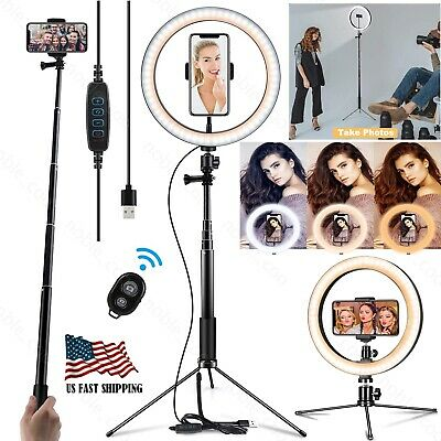 """Dimmable 10"""" Selfie LED Ring Light with Stand Phone Holder Camera Makeup Video"""