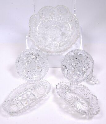 """(5) Vintage Pinwheel Pattern Cut Crystal Bowls & Dishes Handled, Round Oval 8""""D"""