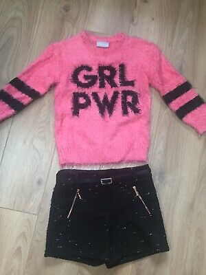 Sparkly Girls Shorts & Jumper Outfit 5-6 Years