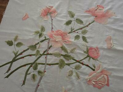 Antique Victorian Society Silk Embroidered Rose 21x21 Pillow Top