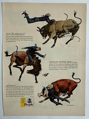 Vintage 1953 Wrangler Western Jeans Jackets Shirts Rodeo Print Ad