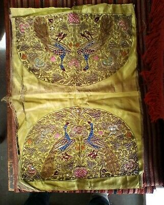 Vintage hand made embroidery a pair of peacock on green silk with gold thread