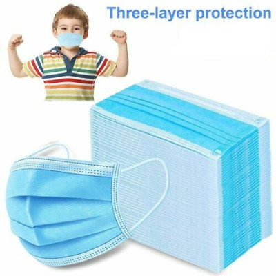 3-Ply Disposable Germ Dust Protection Face Masks Earloop Mouth Cover Adult kids
