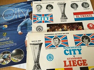 3 different Manchester City home EUROPEAN programmes 1970s/00s