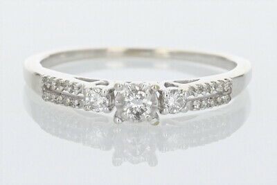 .35ctw Diamond Solitaire with Accents Engagement Ring 10k White Gold Size 8