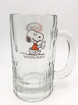 Vintage A&W root Beer Glass Mug With Snoopy