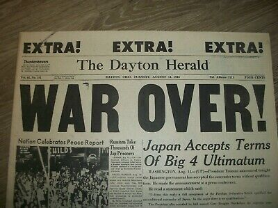 World War 2 Newspaper War Is Over EXTRA EXTRA EXTRA August 14, 1945 Uncirculated