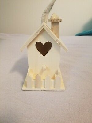 Wooden Miniature Bird House Ornament with Heart Shaped Door